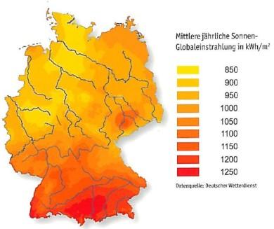 mittlere jährliche Sonnen-Globaleinstrahlung